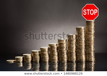 ストックフォト: スタック · コイン · 赤 · 停止 · 注意