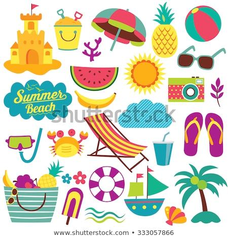 Ingesteld geïsoleerde objecten strandvakantie illustratie strand meisje Stockfoto © bluering