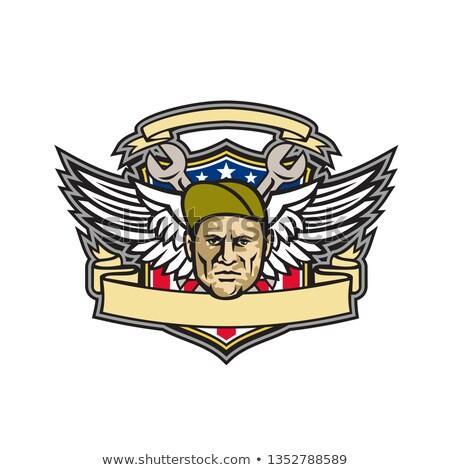 Chiave esercito ali bandiera americana scudo mascotte Foto d'archivio © patrimonio