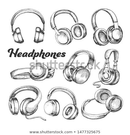Coleção diferente fones de ouvido conjunto vetor moderno Foto stock © pikepicture