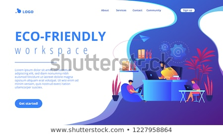 Stock photo: Biophilic design in workspace landing page template