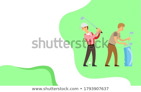 Golf Player with Helper, English Game Website Stock photo © robuart