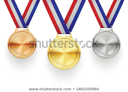 Silver medal for second place with red ribbons 3D Stock photo © djmilic