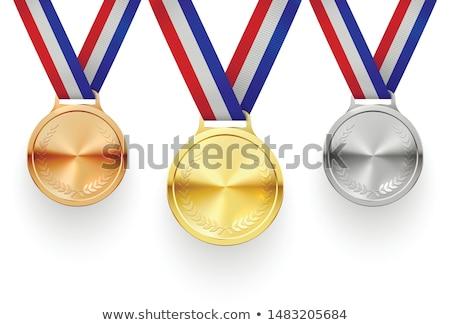 Ezüst érem második hely piros szalagok Stock fotó © djmilic