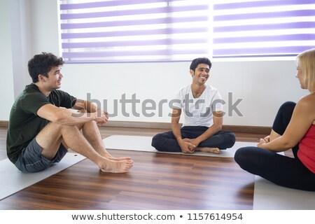 üç kişi yoga insanlar birlikte uygunluk Stok fotoğraf © Kzenon