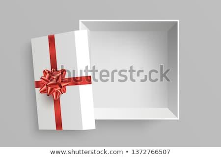 Gerçekçi hediye kutusu kırmızı yay yalıtılmış gri Stok fotoğraf © olehsvetiukha