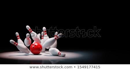 Palla da bowling nero uno bianco rosso copia spazio Foto d'archivio © make