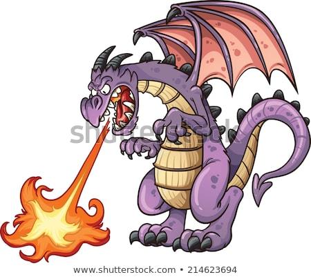 Yangın solunum ejderha karakter ortaçağ tehlikeli Stok fotoğraf © jossdiim