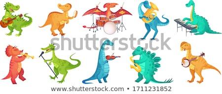 Renkli karikatür yalıtılmış dinozor maskotları Stok fotoğraf © anbuch