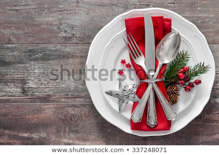 Holiday table setting with brown napkin and silver cutlery, food Stock photo © Anneleven
