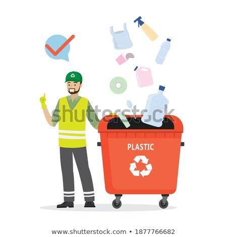 Vrijwilliger man prullenbak vector schoonmaken omhoog Stockfoto © robuart