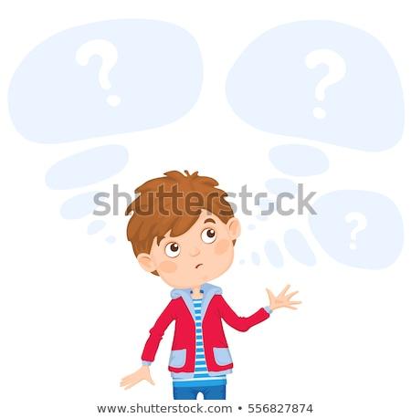 thinking boy in blue hoodie Stock photo © dolgachov