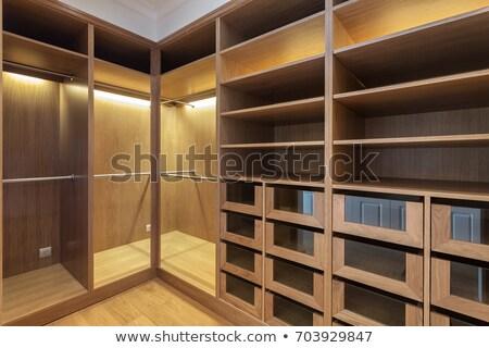 Fehér fa ruhásszekrény szoba ajtók elöl Stock fotó © magraphics