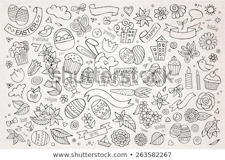 Happy Easter hand drawn cartoon doodles illustration. Stock photo © balabolka