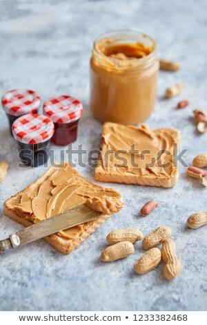 Due gustoso burro di arachidi pietra tavola coltello Foto d'archivio © dash