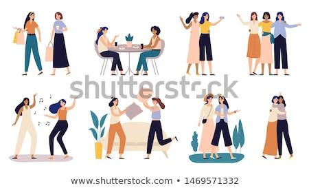 Girls women friends holding pillows. Stock photo © deandrobot