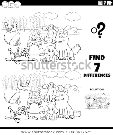 differences task with cartoon dogs group color book page Stock photo © izakowski