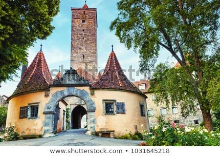 Rothenburg ob der Tauber. Western town gate (Burgtor) of medieva Stock photo © xbrchx
