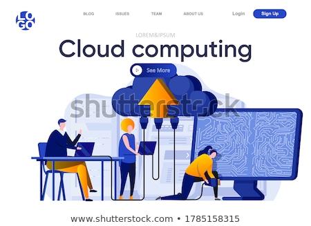 Landing pagina wolk web hosting website Stockfoto © ildogesto