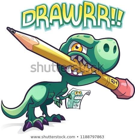 Dinozor kalem karikatür örnek sanat Stok fotoğraf © bennerdesign