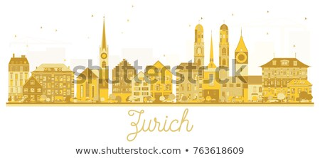 Zurich City skyline golden silhouette. Stock photo © ShustrikS