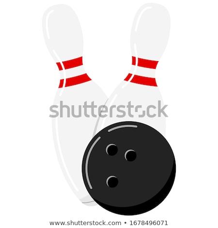 Cartoon palla da bowling bianco nero illustrazione sorridere arte Foto d'archivio © bennerdesign