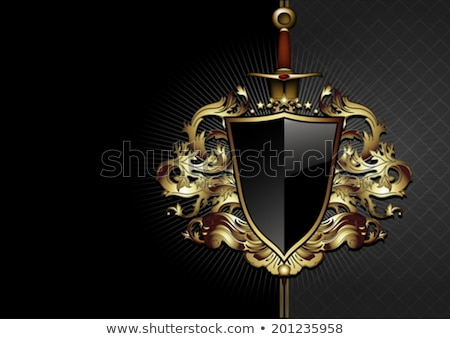 medieval swords and golden shield Stock photo © smeagorl