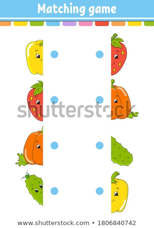 match halves of pictures with objects educational game Stock photo © izakowski
