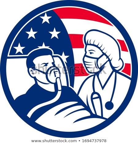 Nurse Caring For COVID-19 Patient USA Flag Circle Icon Retro Stock photo © patrimonio