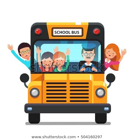 школьный автобус Cartoon стиль копия пространства Снова в школу Сток-фото © ShustrikS