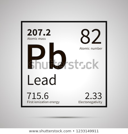 Lead chemical element with first ionization energy, atomic mass and electronegativity values ,simple Stock photo © evgeny89