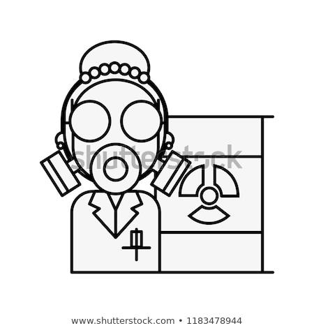 Wissenschaftlichen Frau Schutz Maske Strahlung Barrel Stock foto © yupiramos