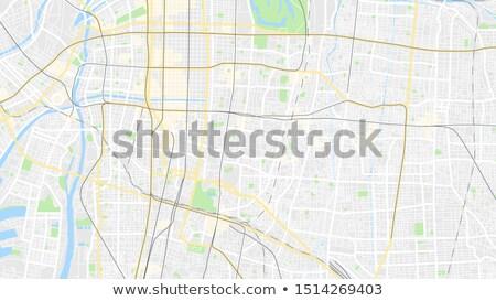 Oszaka jelzőtábla zöld autópálya tábla felhő utca Stock fotó © kbuntu