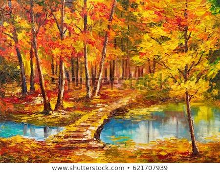 Ağaçlar sarı sonbahar yaprakları nehir su orman Stok fotoğraf © Melvin07