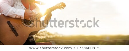 mexicano · jogar · guitarra · deserto · cena · música - foto stock © dayzeren