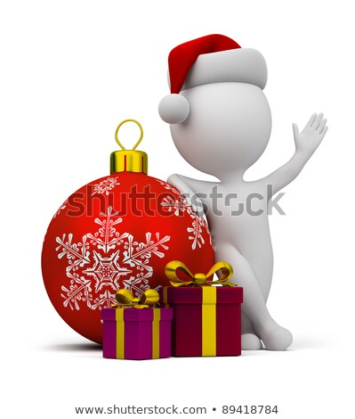 3d small people   santa with gifts and a christmas ball stock photo © anatolym