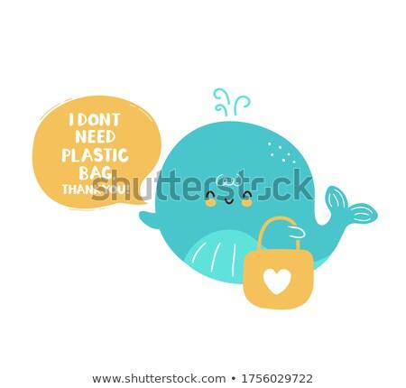 дружественный кит речи пузырь плаванию подводного Cartoon Сток-фото © adrian_n