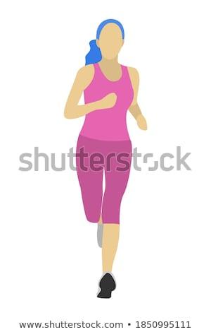 Slender White Woman Jogging on Isolated Background Stock photo © Qingwa