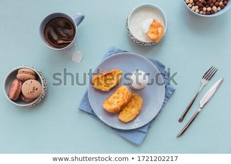 Tost çay taze çilek reçel mavi Stok fotoğraf © fotogal