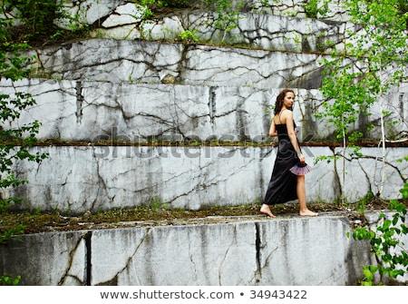 menina · mármore · mina · velho · dandelion - foto stock © zastavkin