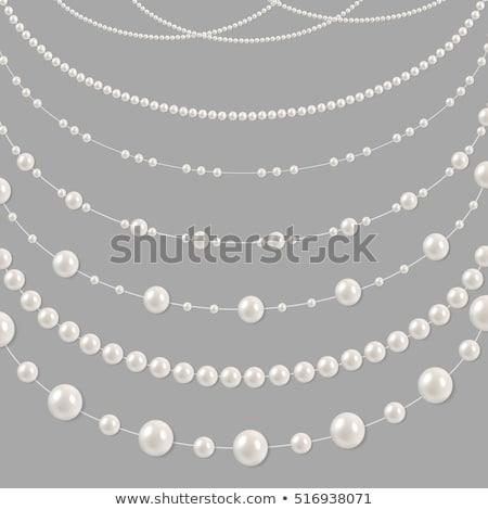 Fonal gyöngyök fehér fekete kő gyöngyök Stock fotó © restyler
