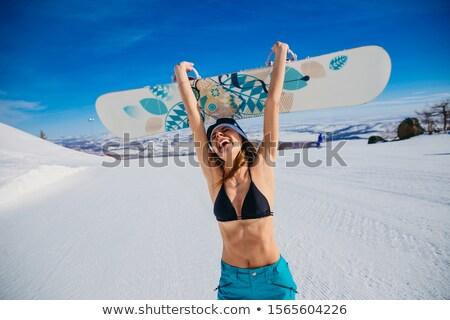 Tél nő sípálya közelkép gyönyörű nő szőr Stock fotó © stryjek
