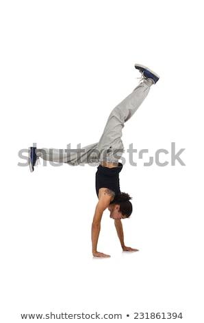 táncos · pózol · izolált · fehér · férfi · egészalakos - stock fotó © feedough