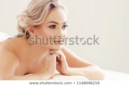 Szőke szépség fektet nő portré bőr Stock fotó © konradbak