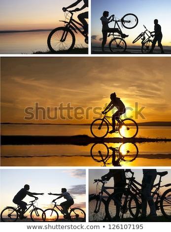 paar · strand · fietsen · vrouw · hemel · sport - stockfoto © photography33
