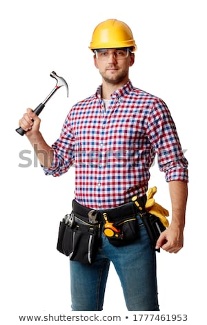 happy craftsman holding a hammer Stock photo © photography33