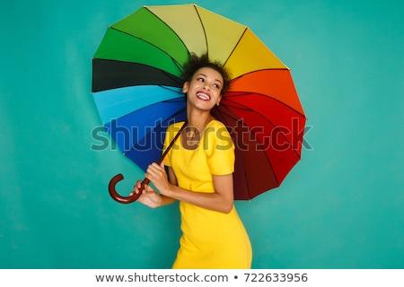 Stock fotó: Lány · esernyő · színek · pihen · virágok · virág