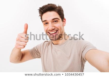 Chłopca biały chińczyk kciuk w górę Zdjęcia stock © soonwh74