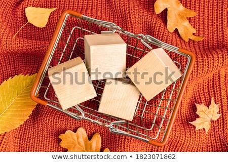 autumn offer   text in orange cubes stock photo © marinini