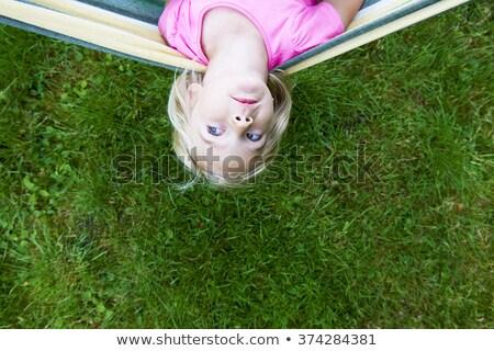 青い目 子供 少女 庭園 草 ストックフォト © lunamarina